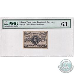FR 1236 5-cents Third Issue Fractional Currency, Colby-Spinner, Red Back, PMG Certified CUNC-63