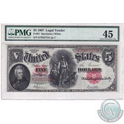 FR 91 1907 Legal Tender $5, Speelman-White, S/N: K7985731, pp C, PMG Certified EF-45 (Small tear in
