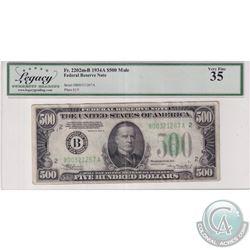 Mule Error. FR 2202m-B 1935A United States Federal Reserve $500 Note. S/N: B00321267A.  Legacy Certi