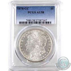 USA 1878CC Silver $1 PCGS Certified AU-58