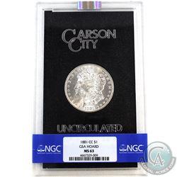 USA 1881CC Silver $1 Morgan GSA Hoard Better Key Carson City Coin Box/Cert NGC Certified MS-63