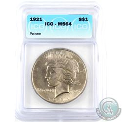 USA 1921 Silver $1 ICG Certified MS-64