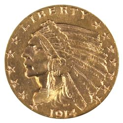 USA 1914 $2.50 Gold CCCS Certified EF-45