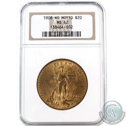 USA 1908 $20 Gold No Motto NGC Certified MS-62