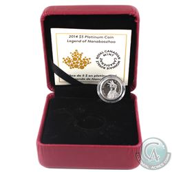Canada 2014 $5 Portrait of Nanaboozhoo Platinum Coin (missing outer sleeve) Tax Exempt.