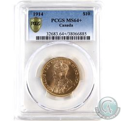 Canada 1914 $10 Gold PCGS Certified MS-64+ A bright vibrant coin with great strike details.