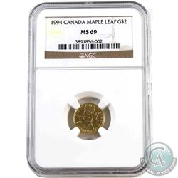 Canada 1994 1/15oz. $2 Gold Maple Leaf NGC Certified MS-69 (Tax Exempt). Produced only in 1994, the