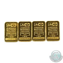 Lot of 4 x Johnson Matthey 1 Gram Fine Gold Bars with Consecutive Serial Numbers - C5380-83. 4pcs (T