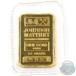 Johnson Matthey 2.5 GRAM Fine Gold Bar 'Sealed' (TAX Exempt). Serial # A9091