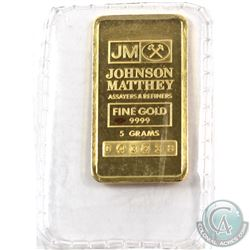 Johnson Matthey 5 GRAM Fine Gold Bar 'Sealed' (TAX Exempt). Serial # 043238