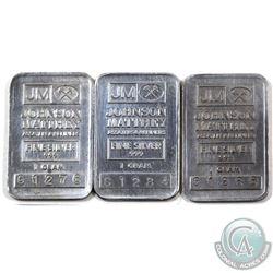 RARE! Johnson Matthey 1 gram Fine Silver Bar Collection (TAX Exempt). Serial # C1278, C1284, C 1288.