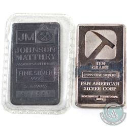 Johnson Matthey 5 gram & Pan American 10 gram Fine Silver Bars (TAX Exempt). 2pcs.
