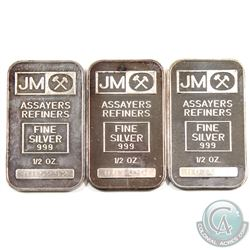 3x Johnson matthey 1/2oz Fine Silver Bars with 'Blank' Reverse (TAX Exempt). Serial # 001660, 001690