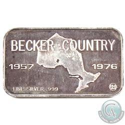 Ultra Scarce! 1957-1976 Johnson Matthey & Mallory 'Becker Milk co' 1oz Fine Silver Bar (TAX Exempt).