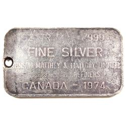 Ultra Rare! 1974 Johnson Matthey & Mallory 1oz Fine Silver Bar with Blank Reverse (Tax Exempt). Hole