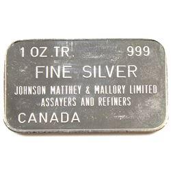 Ultra Scarce! ! ! Johnson Matthey & Mallory - 1976 Occidental Canadian Gold Rush 1oz Silver Bar (TAX