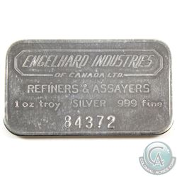 RARE! Engelhard Refiners & Assayers 1oz Fine Silver Bar with Large Serial Font (TAX Exempt). Serial