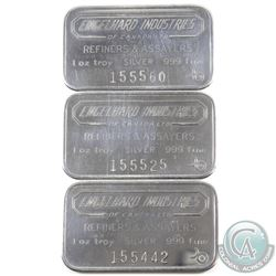 Lot of Scarce Engelhard Industries Canada 1oz Fine Silver Bars with '6 digit #' and Bull Mark (TAX E