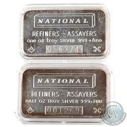 Scarce Vintage National Refiners 1/2oz & 1oz Fine Silver Bar Set (TAX Exempt). 1/2oz Serial #001269,