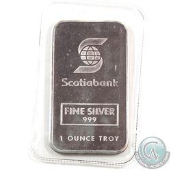 RARE! Johnson Matthey 'Scotiabank' 1oz Fine Silver Bar Still Sealed (TAX Exempt). Serial # 009402.