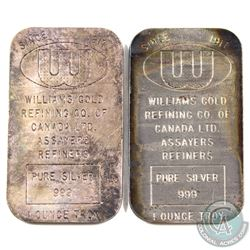 Pair of Vintage Williams Gold Refining Co. 1oz Fine Silver Bars (TAX Exempt). 2pcs.