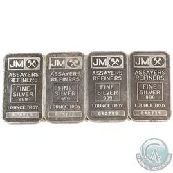 Lot of Vintage 1979 Johnson Matthey 1oz Fine Silver Bars with Blank Back (TAX Exempt). First produce