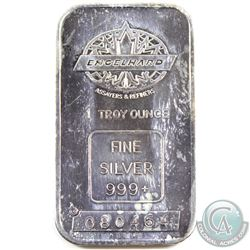 Vintage Engelhard 'Maple Leaf' 1oz Silver Bar with centered Weight Stamp (TAX Exempt). This bar has