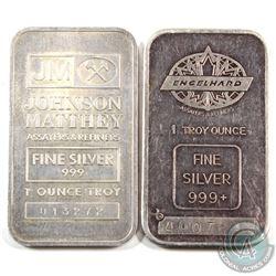 Scarce Lot! Johnson Matthey & Engelhard 1oz Fine Silver Bars with 'TD Logo' Reverse (TAX Exempt). Se