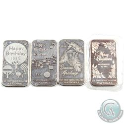 Vintage National Refiners Merry Christmas & Happy Birthday 1oz Fine Silver Art Bar collection (TAX E