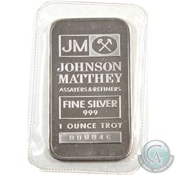 SCARCE! Johnson Matthey 1oz Fine Silver Bar with 'King Koil' Reverse (TAX Exempt). Serial #000846. 1