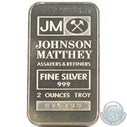 Scarce Johnson Matthey 2oz Fine Silver Bar with JM Logo Reverse (Tax Exempt). Serial #015323