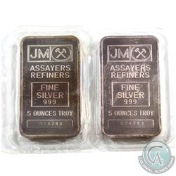 Consecutive Johnson Matthey 5oz Fine Silver Bar with Blank Reverse (TAX Exempt). Serial # 024743 & #