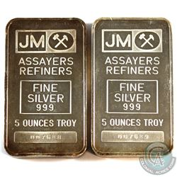 Consecutive Johnson Matthey 5oz Fine Silver Bar with Blank Reverse (TAX Exempt). Serial # 007688 & #