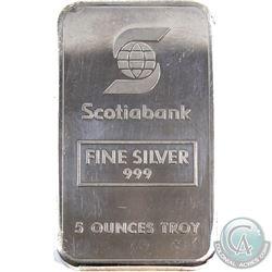Ultra Rare! Johnson Matthey 'Scotiabank' 5oz Fine Silver Bar (TAX Exempt). Serial #002488. 5oz examp