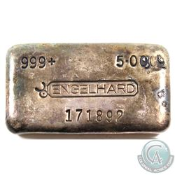 Extremely RARE! Engelhard 5oz 5th Series Fine Silver Bar (TAX Exempt). Serial # 171892. 5th Series i