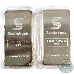 Scarce Consecutive Scotiabank 10oz Fine Silver Bars (TAX Exempt). Serial # 001968, #001969. 10oz exa