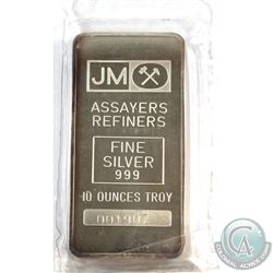 Johnson Matthey 10oz Fine Silver Bar (TAX Exempt).  Serial # 001907 10oz. 10oz example produced by J