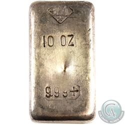 Scarce! Johnson Matthey USA 10oz Fine Silver Bar with 'Wide Spaced 999' and Small Logo (TAX Exempt).