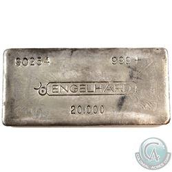Early Engelhard 20oz Canadian Variation '3rd Series' Fine Silver Bar (TAX Exempt). 3rd Series 20oz i