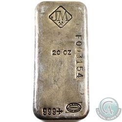Scarce Johnson Matthey 20oz Fine Silver Bar with Serial # (TAX Exempt). Serial # F003154.