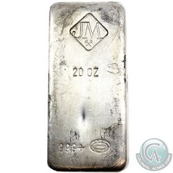 Johnson Matthey 20oz Fine Silver Bar with Large Logo 'No serial #' (TAX Exempt).
