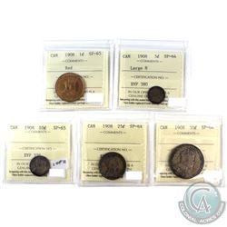 1908 5-coin SPECIMEN Set ICCS Certified SP-64 & SP-65! *RARE! A great Original Specimen set, featuri