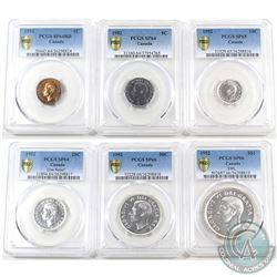 1952 Canada 6-coin Specimen Set. This set has been graded by PCGS with the following grades: 1-cent