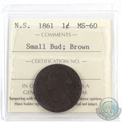 Nova Scotia 1-cent 1861 Small Bud ICCS Certified MS-60 Brown. An attractive coin with even deep choc