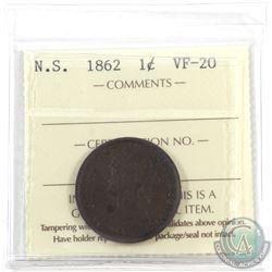 Nova Scotia 1-cent 1862 ICCS Certified VF-20.
