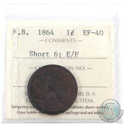 New Brunswick 1-cent 1864 Short 6, E/F ICCS Certified EF-40