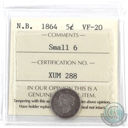 New Brunswick 5-cent 1864 Small 6 ICCS Certified VF-20.