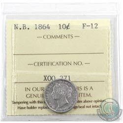 New Brunswick 10-cent 1864 ICCS Certified F-12