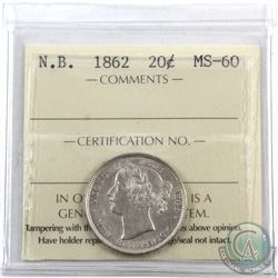 New Brunswick 20-cent 1862 ICCS Certified MS-60.
