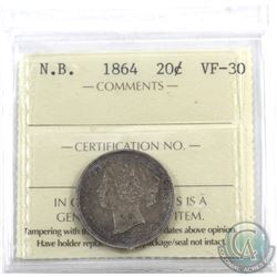 New Brunswick 20-cent 1864 ICCS Certified VF-30